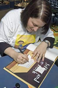 Kari-Lynn Winters at a book-signing for Jeffrey and Sloth